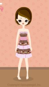 Sweets border dress / pk10BJ