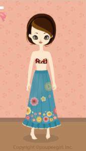 Flower long skirt / bl10C