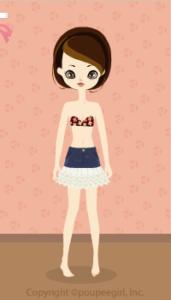 Frilly denim skirt / wh09L