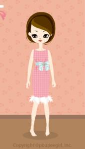 Stripe chiffon dress / pk10C